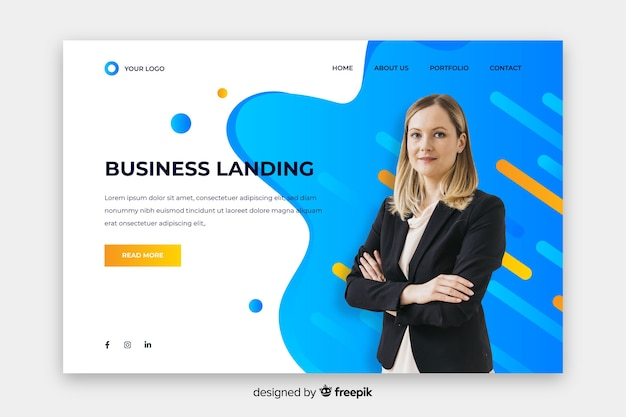 Professional landing page with photo Free Vector
