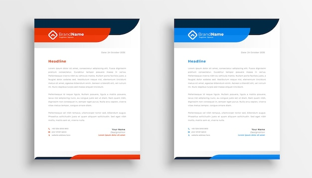 Professional letterhead template design in two colors Free Vector