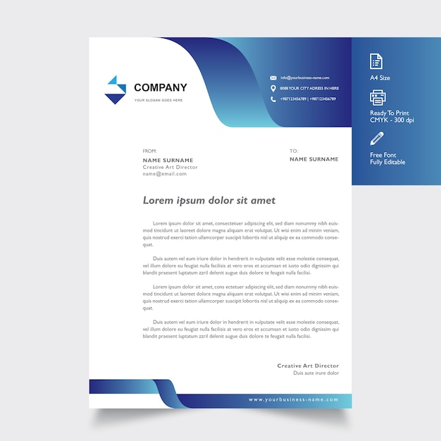 professional letterhead template with shape blues on color vector