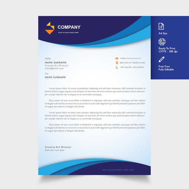 Professional Letterhead Template Vector Premium Download