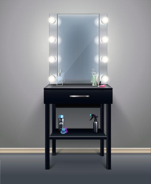 Lo specchio professionale di trucco con le luci accese nell'illustrazione realistica di vettore della composizione nella stanza vuota Vettore gratuito