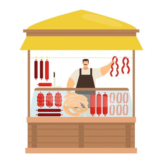 プロの男性キャラクター肉屋、貿易肉製品、ソーセージ、白、イラストの半完成したミンチを販売するストリートキオスク。 Premiumベクター
