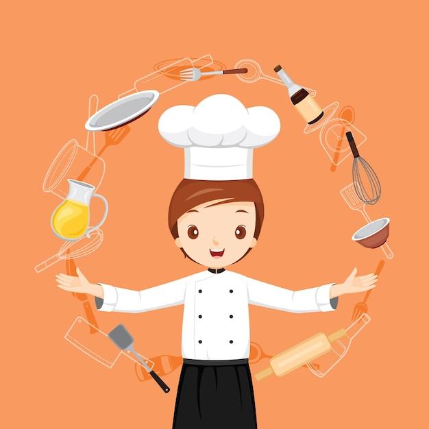 Профессиональный мужской шеф-повар с предметами кухонной техники Premium векторы