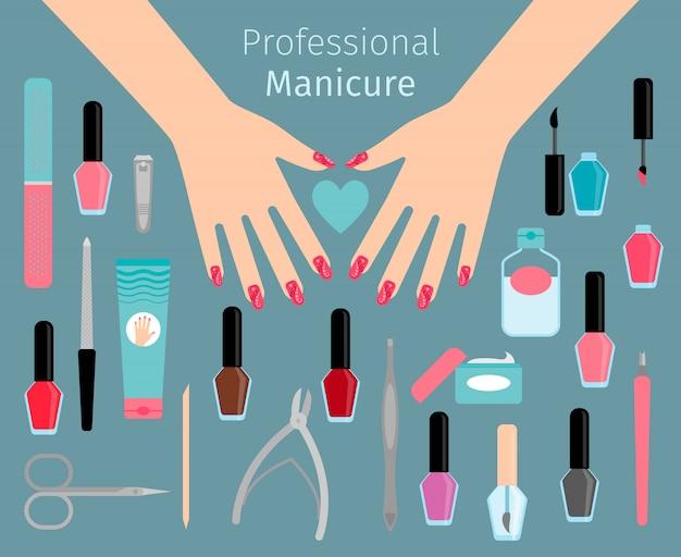Professional manicure accessorie Premium Vector