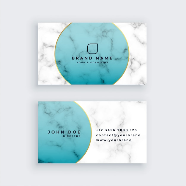 Professional marble business card design Free Vector