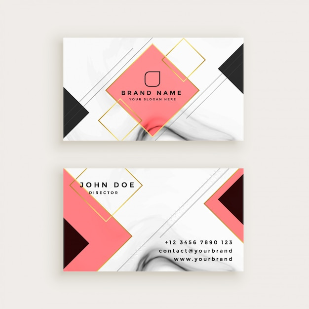 Professional marble business card with diamond shape vector free professional marble business card with diamond shape free vector colourmoves