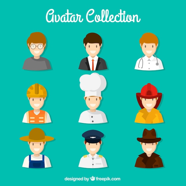 Professional men avatars collection