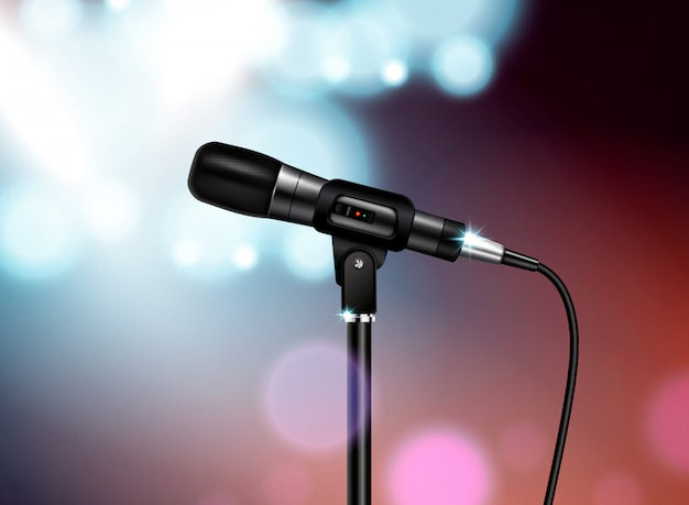 Professional microphone concert realistic composition with vocal mic image mounted on stand with colourful blurred background Free Vector