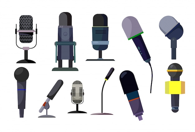 Professional microphones set Free Vector