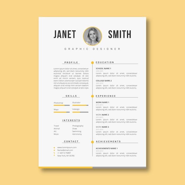 Professional minimalist curriculum vitae template Free Vector