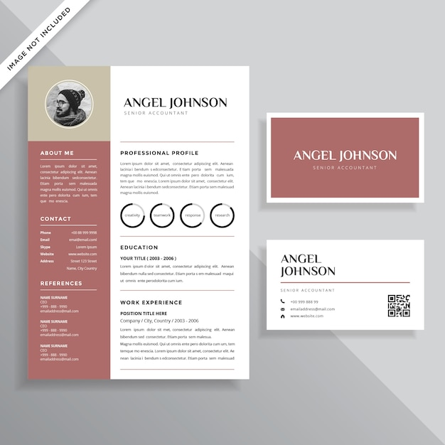 Professional Minimalist Resume Cv With Business Card Vector