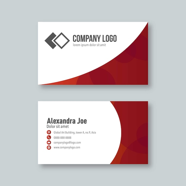 Professional and modern business card in red Premium Vector