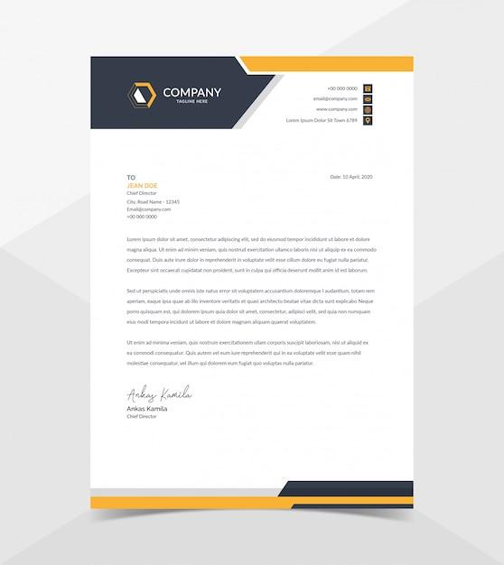 Professional and modern corporate letterhead template Premium Vector