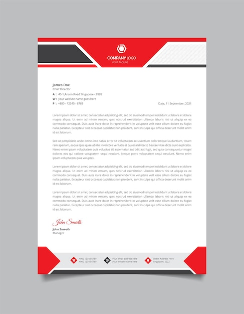 Professional and modern corporate letterhead template Premium Vector
