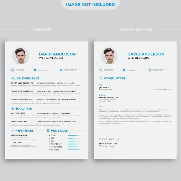 Professional Modern Minimal Cv Resume Design Template With White Background Premium Vector