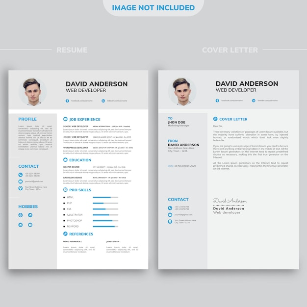 Professional modern minimal cv resume design template with white and black background Premium Vector