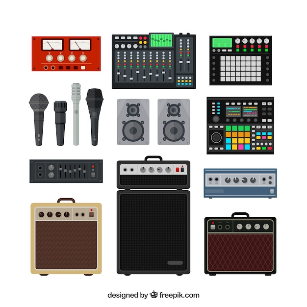 Professional music studio equipment Free Vector