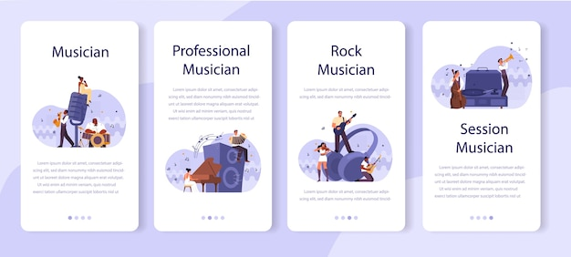 Professional musician playing musical instruments mobile application banner set. young performer playing music with professional equipment. jazz and rock band performance.  . Premium Vector