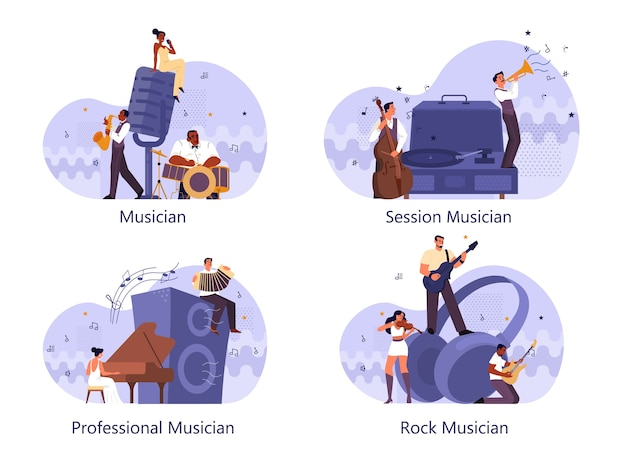 Professional musician playing musical instruments set. young performer playing music with professional equipment. talented musicians, jazz and rock band performance. . Premium Vector