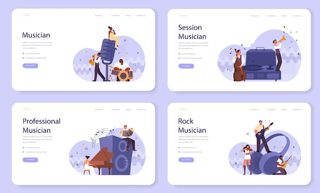 Professional musician playing musical instruments web banner or landing page set. young performer playing music with professional equipment. jazz and rock band performance.  . Premium Vector