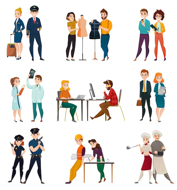 Professional occupation people set Free Vector