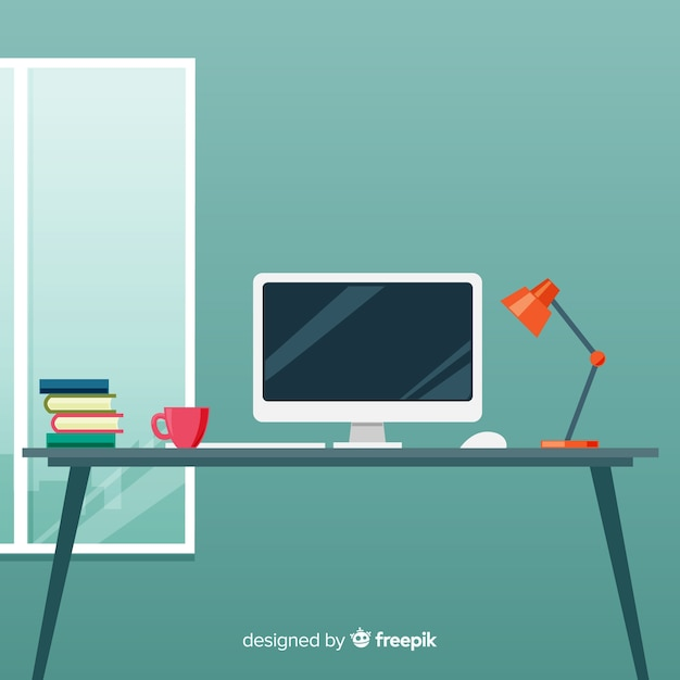 Professional office desk with flat design Free Vector