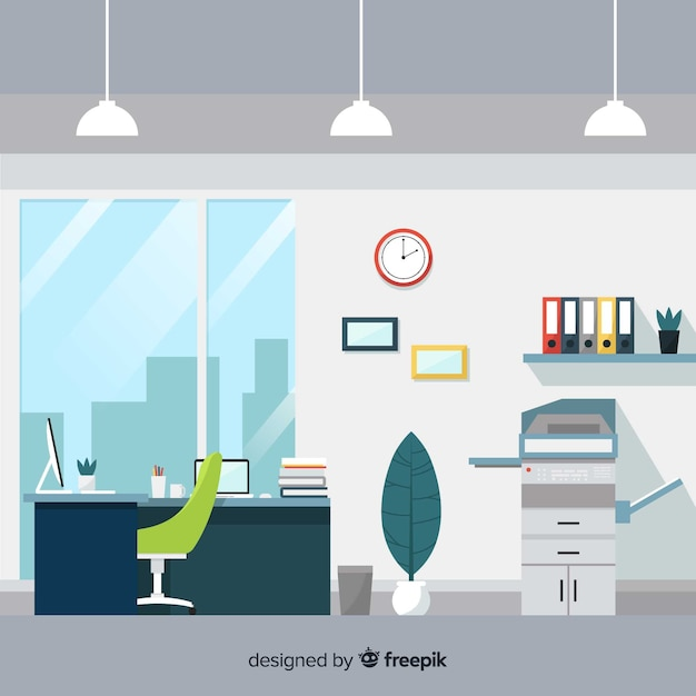 Professional office interior with flat design Free Vector
