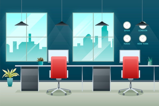 Professional office video conferencing background Free Vector