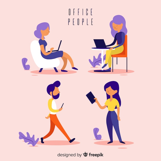 Professional office workers with flat design Free Vector