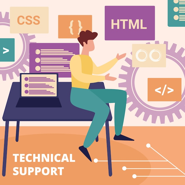 Professional operator of technical support service Premium Vector
