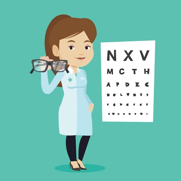 Professional ophthalmologist holding eyeglasses. Premium Vector