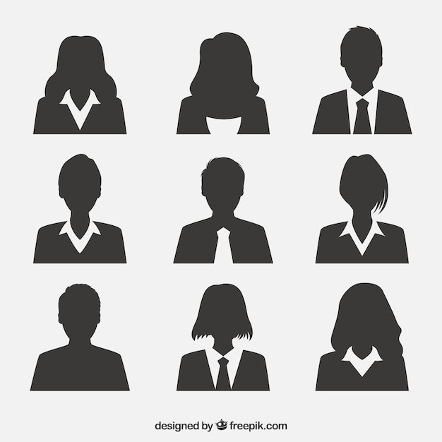 Professional pack of silhouette avatars Premium Vector