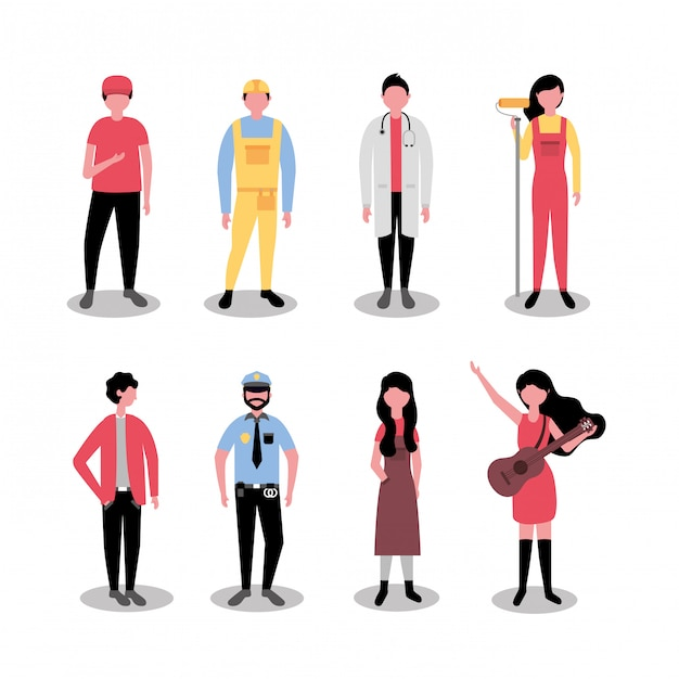 Professional people labor day Free Vector
