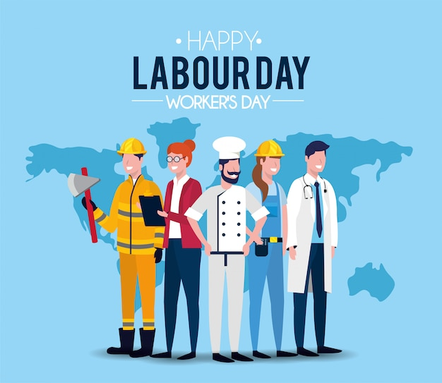 Professional people to labour day celebration Premium Vector