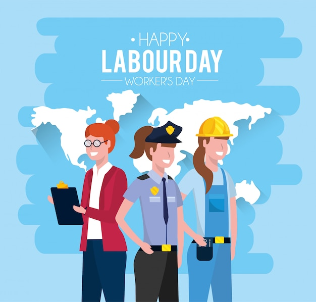 Professional people with uniform to labour day Premium Vector