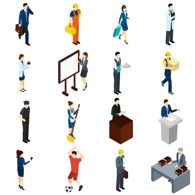 Professional people work isometric icons set Free Vector