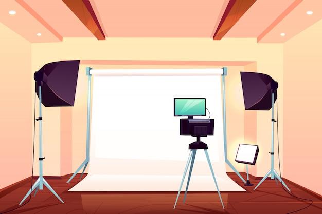 Профессиональная фотостудия интерьера мультяшный векторная иллюстрация Бесплатные векторы