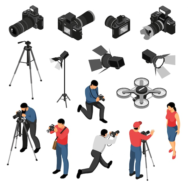 Professional photographer equipment isometric icons collection with studio portrait photo shoots camera light drone isolated vector illustration Free Vector