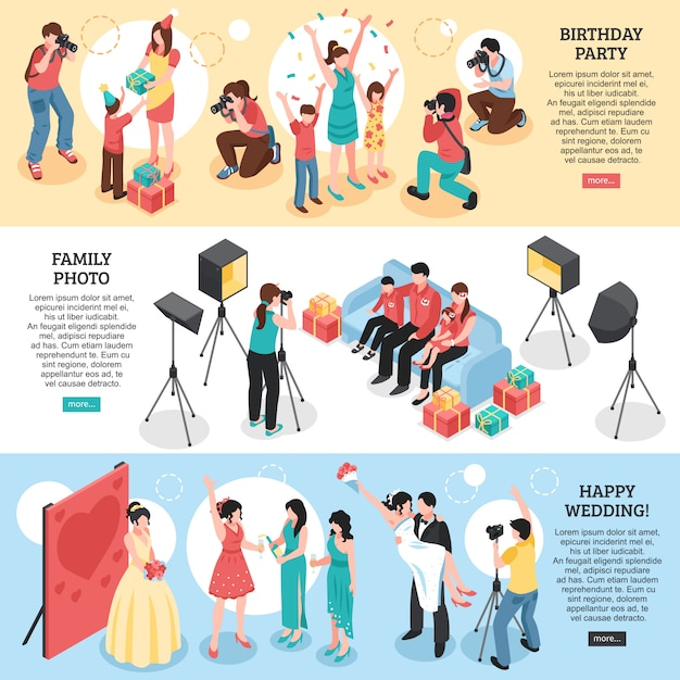 Professional photographer horizontal isometric banners with birthday party family portrait  happy wedding Free Vector