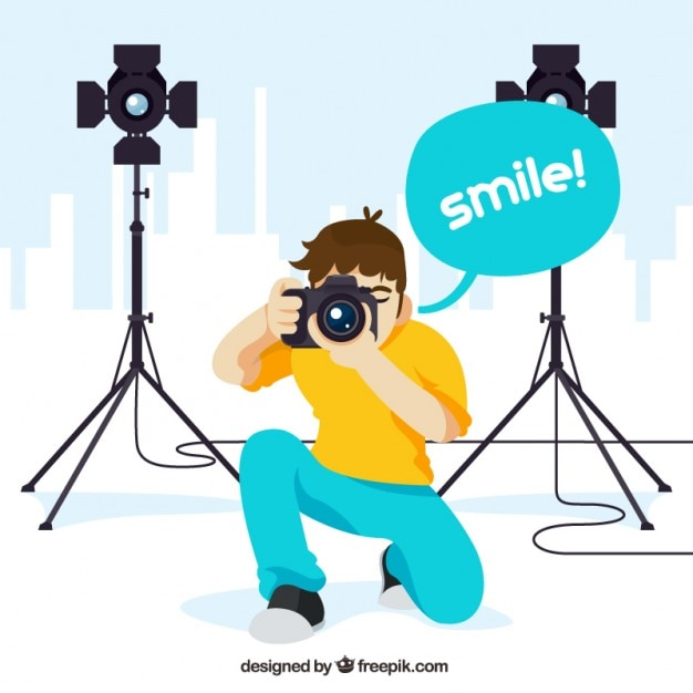 Professional photographer illustration Free Vector