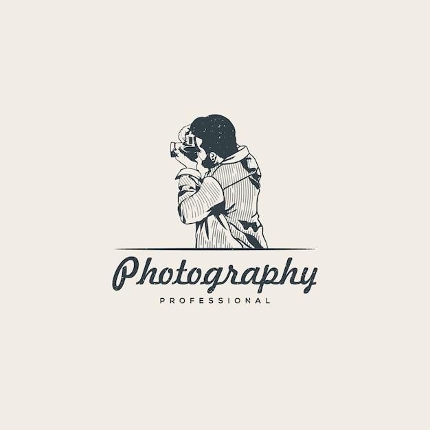 Professional photographer logo template Premium Vector