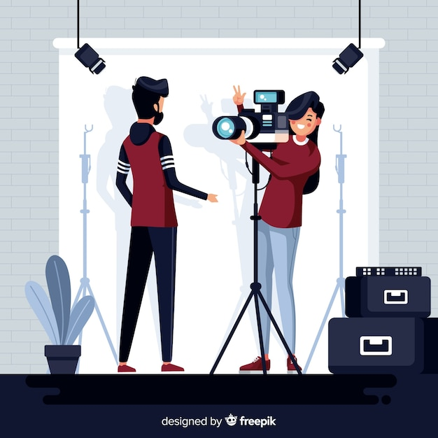 Professional photographer taking a picture Free Vector