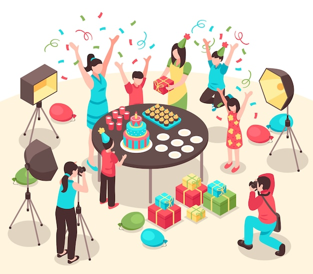 Professional photographers with cameras and lighting facilities during making pictures of kids party isometric illustration Free Vector