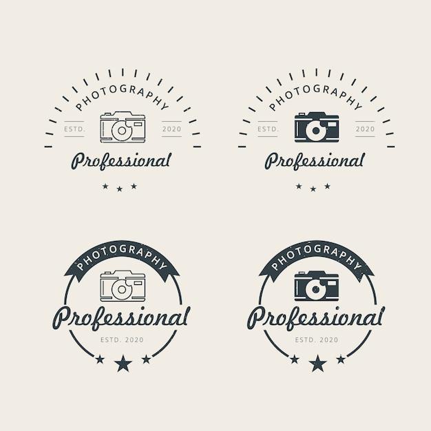 プロの写真のロゴデザインテンプレート Premiumベクター