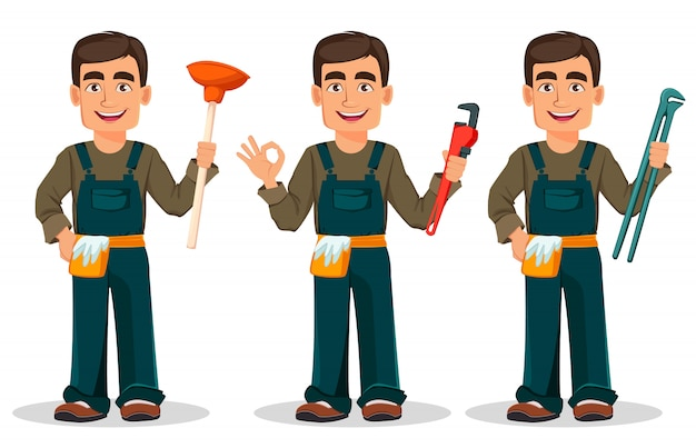 Professional plumber in uniform Premium Vector