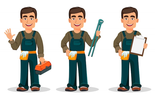 Professional plumber in uniform Premium Vector