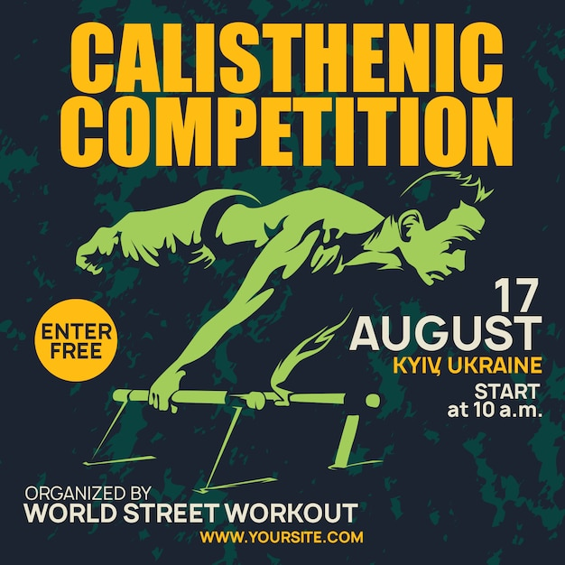 Professional poster calisthenic and street workout Premium Vector