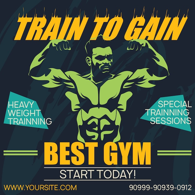 Professional poster gym and bodybuilding Premium Vector