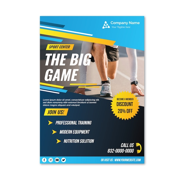 Professional racing sport flyer template Free Vector