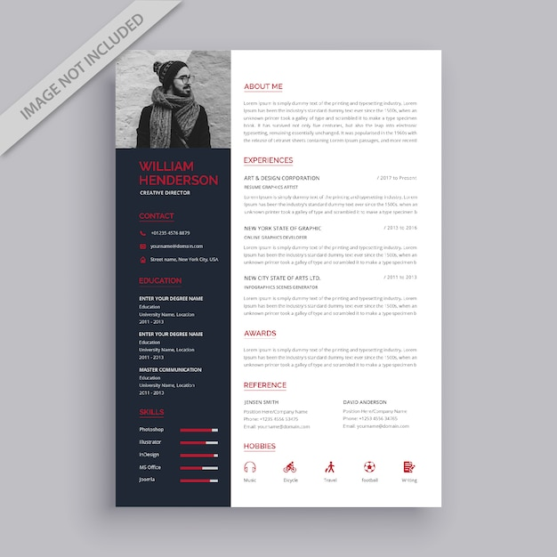 professional red and black resume template vector